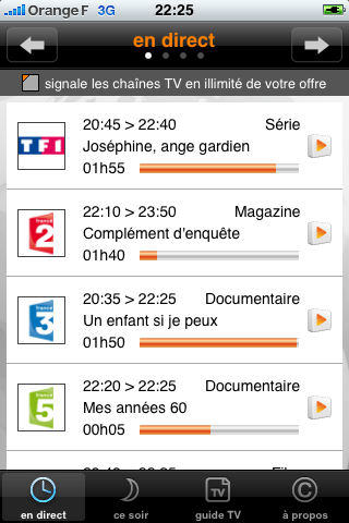 Tv d'Orange pour iPhone