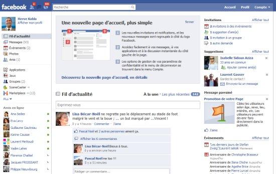 La nouvelle page d'accueil de Facebook