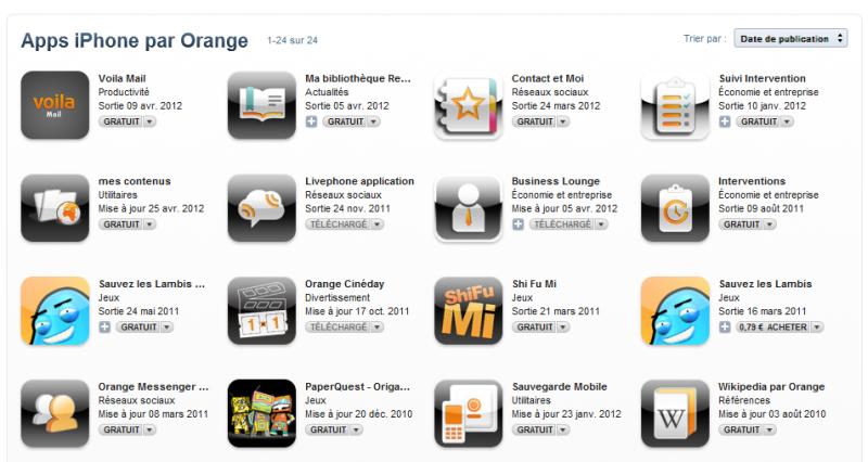 Une vingtaine d'applis iPhone pour Orange