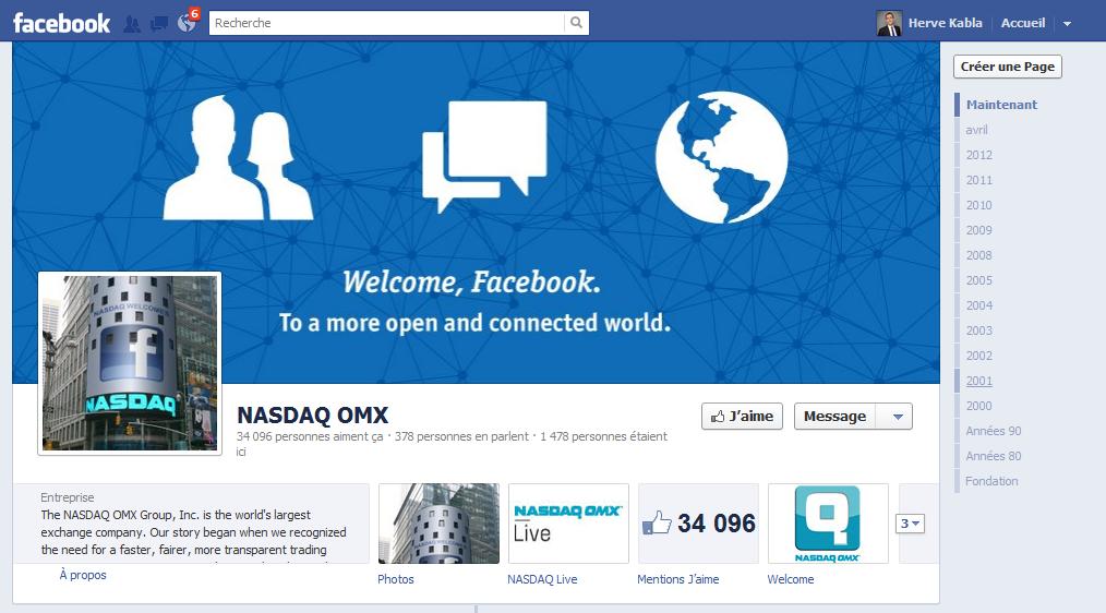 La fan page du NASDAQ sur Facebook
