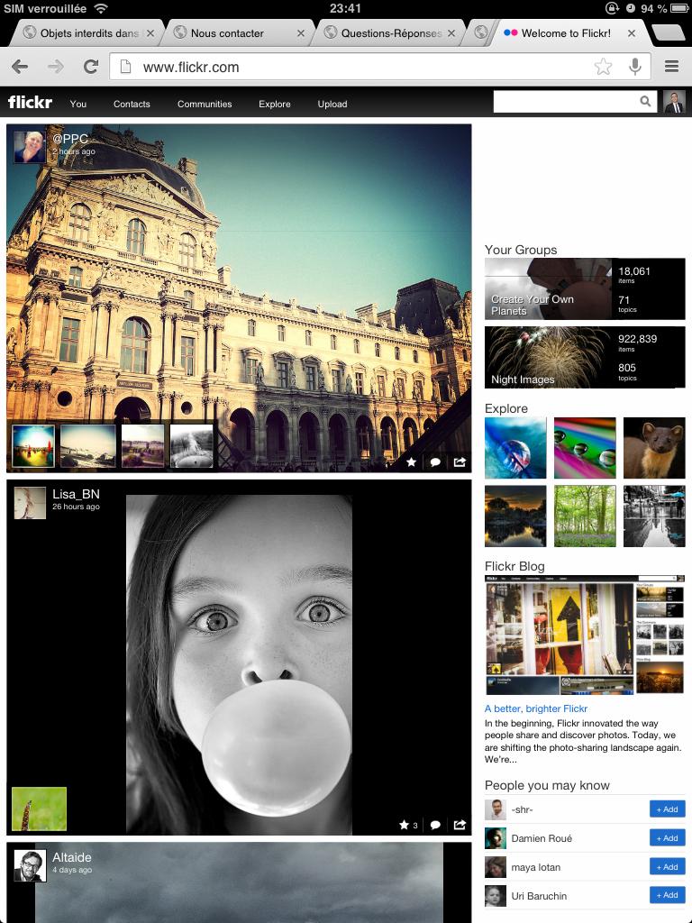 La home de Flickr sur un iPad