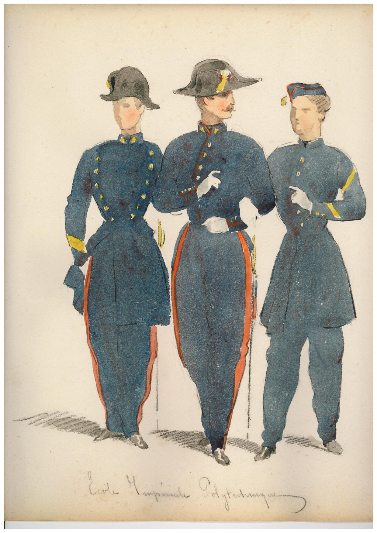 Uniformes du second Empire. Le pompon jône sur le bonnet de police est bien visible, à droite. collection de l'auteur