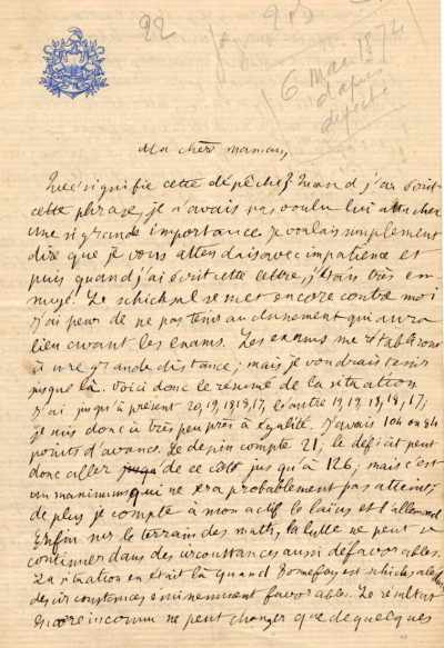 Fac-simile de lettre du conscrit Poincaré à sa maman.