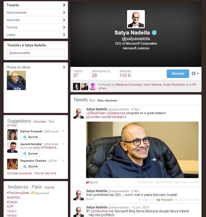 Satya Nadella revient sur Twitter ... après 4 années d'absence