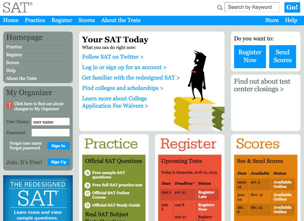 sat exam homepage