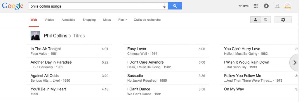 Google search music Phil Collins