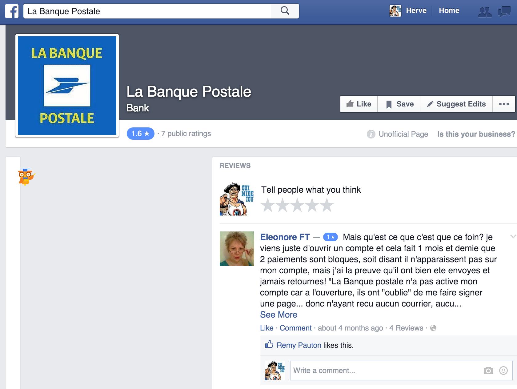 Banque postale facebook