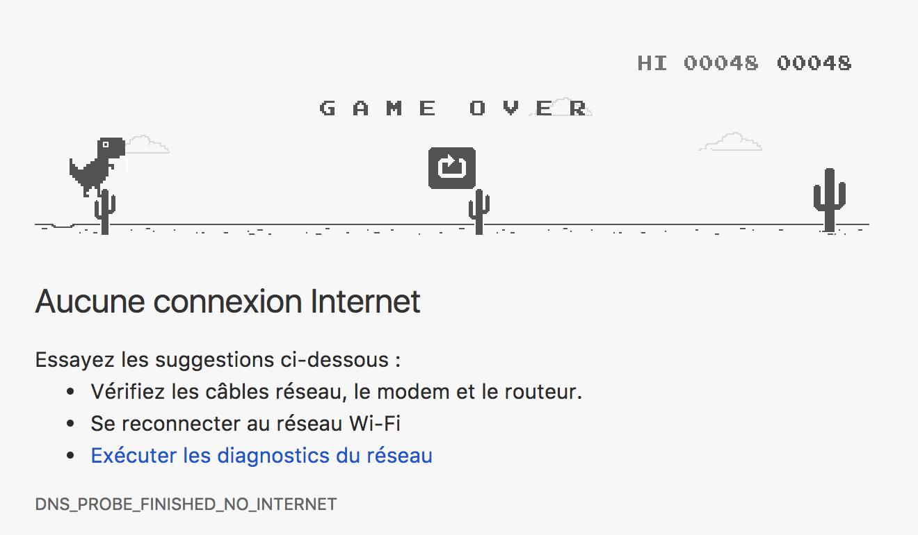 Aucune connexion internet