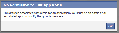 This group is associated with a role for an application. You must be an admin of all associated apps to modify the group's members.