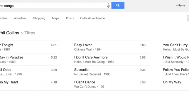 Google search music Phil Collins