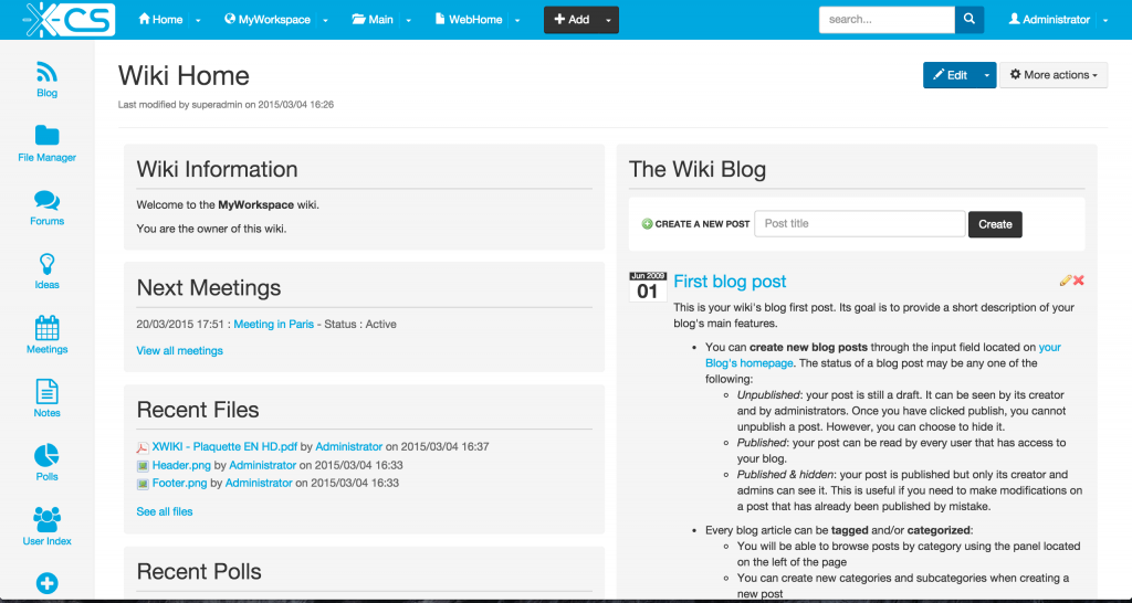 L'interface de XWiki